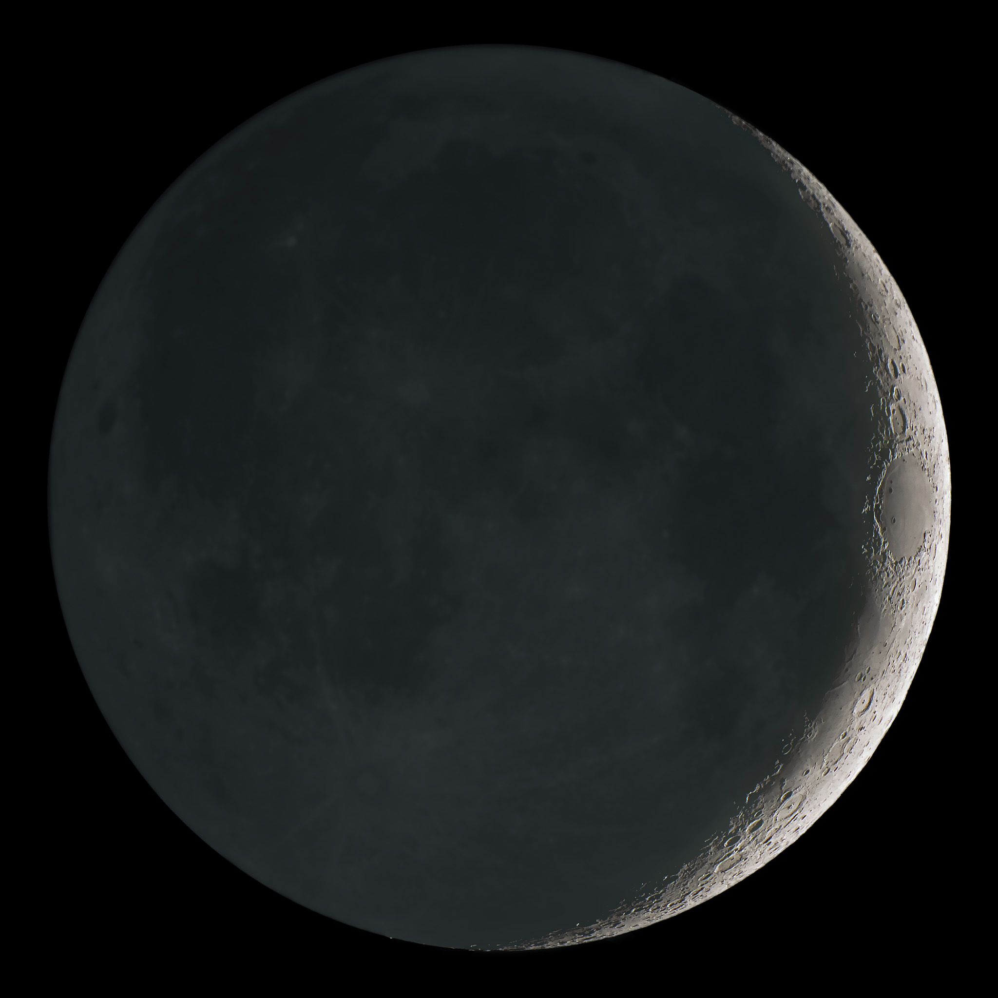 January Earthshine Crescent Moon