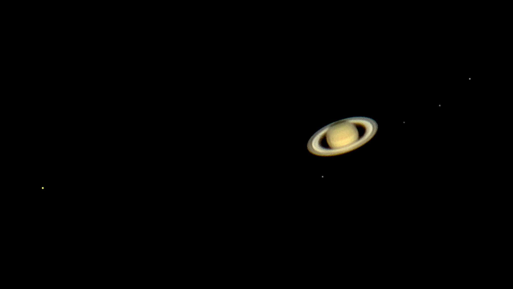 Saturn with five moons 2016-06-09
